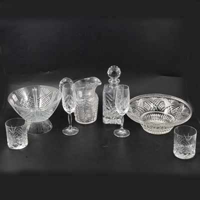 Lot 61 - Waterford 'Lismore' pattern glasses, and other glassware.