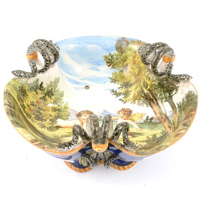 Lot 85 - Ginori Majolica trefoil pedestal dish with three twin serpent handles.