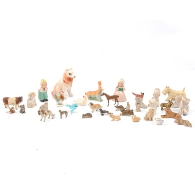 Lot 83 - Thirty-three miniature china, bisque, glass, lead, metal figures and animals.
