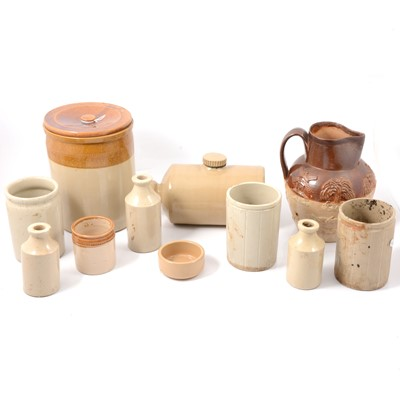 Lot 10 - A Royal Doulton salt-glazed hunting jug, and other stoneware items.