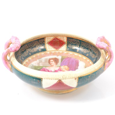 Lot 12 - Royal Vienna bowl with twin handles.