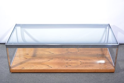 Lot 1077 - Rosewood chrome and glass coffee table, attributed to Richard Young for Merrow Associates, 1970s