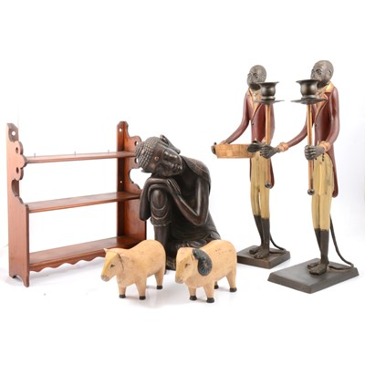 Lot 91 - Metal and wooden wares, to include monkey figures, spice rack etc.
