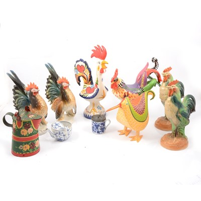 Lot 66 - Ceramic and metal cockerel models.