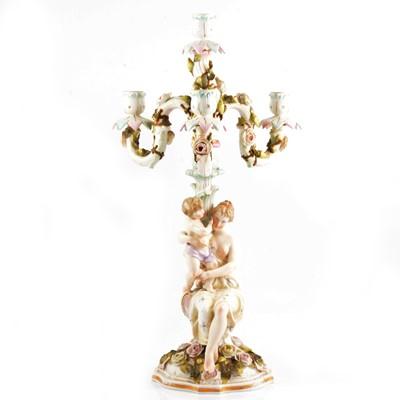 Lot 21 - Continental porcelain four-light candelabra, probably Jacob Petit.