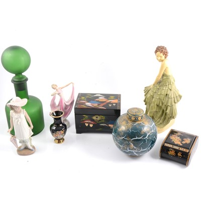 Lot 23 - Pair of Staffordshire dogs, and other ceramics, glass paperweights, wood and metal wares.