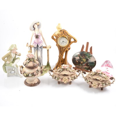 Lot 34 - Pair of small Dresden porcelain figurines, Capodimonte and other decorative items.