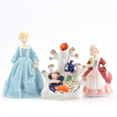 Lot 26 - Royal Worcester figure, Royal Doulton figure, and a spill vase