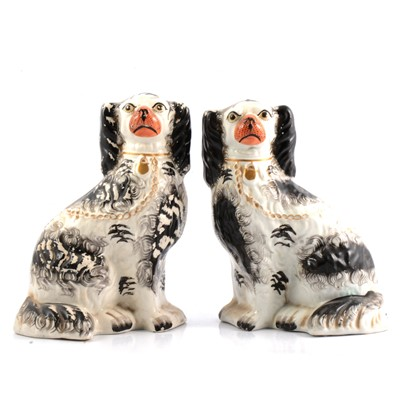 Lot 9 - Pair of Staffordshire models of King Charles Spaniels
