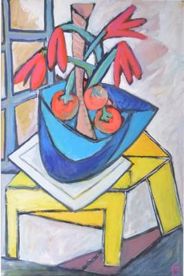 Lot 1056 - Philip Vencken - Still Life, tomatoes in blue bowl