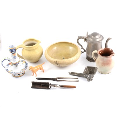 Lot 45 - Pewter, ceramics, brassware, Beswick dog, antique iron curling tongs and crimpers.