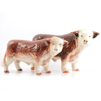 Lot 14 - Two Hereford china bulls.