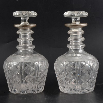 Lot 1 - Pair of crystal decanters with silver collars, John Round & Son Ltd, Sheffield 1926.