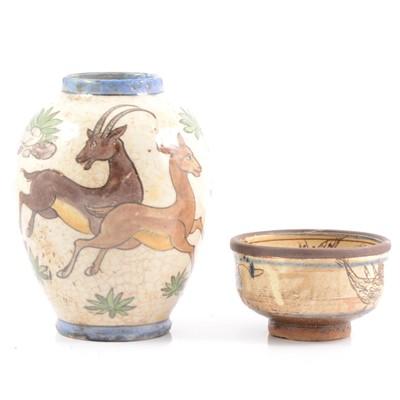 Lot 9 - Iznik pottery glazed vase with Antelope and bowl.