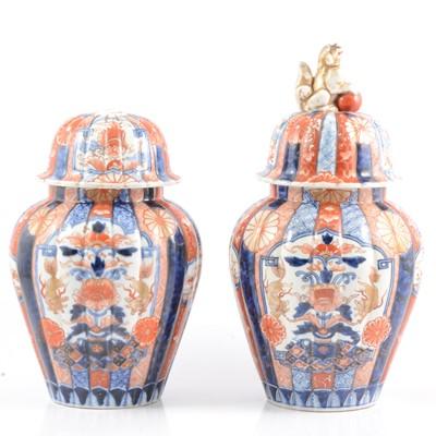 Lot 6 - Pair of Imari covered vases.