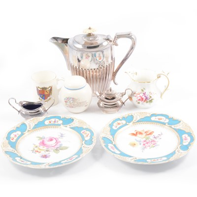 Lot 11 - Nymphenburg comport and plates, royal commemorative mugs, and silver-plated wares.