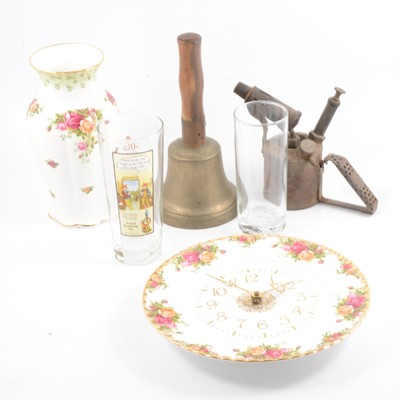 Lot 13 - Champagne flutes and coupes, Royal Albert 'Old Country Roses' and other ceramics and metalwares.