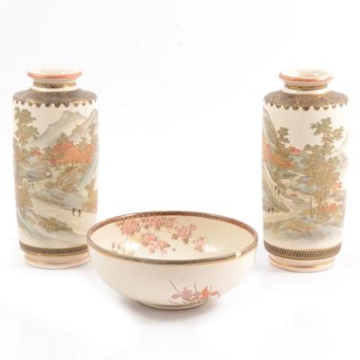 Lot 3 - Pair of Japanese Satsuma vases and a small bowl.