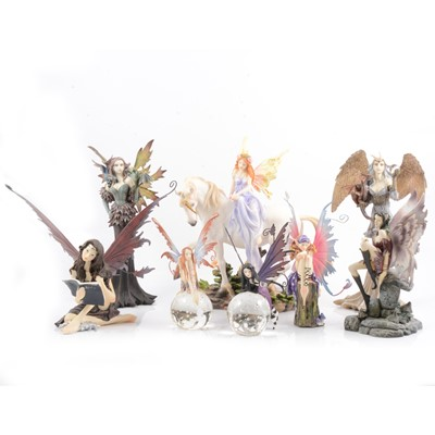 Lot 20 - Nemesis Now fairy figures and glass paperweights.