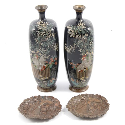 Lot 16 - Pair of Japanese cloisonne vases with cockerels, and a pair of cast metal coasters