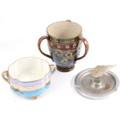 Lot 38 - Royal Doulton loving cup, Noritake bowl and French glass mounted ashtray