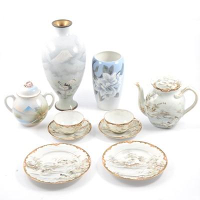 Lot 19 - Royal Copenhagen vase, Japanese cloisonne vase, teaset and other ceramics.