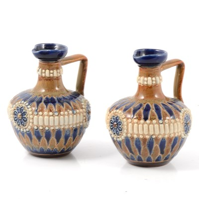 Lot 1 - Pair of Doulton Lambeth stoneware jugs/ ewers