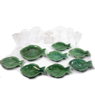 Lot 43 - Six Waterford Crystal cutglass wine glasses, and set of Dartmouth pottery dishes.