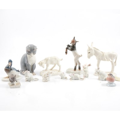 Lot 14 - Quantity of Continental porcelain animal figures, including Rosenthal, B&G, etc