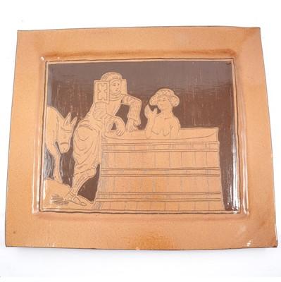 Lot 22 - Large stoneware ceramic platter, Chaucer style figural design