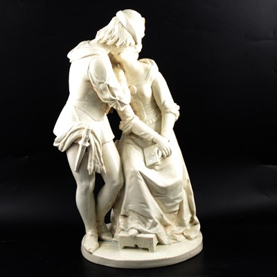 Lot 32 - Large white ceramic figure group, lovers in period costume.