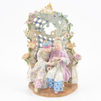 Lot 6 - Meissen style porcelain Chinoiserie Arbour group.