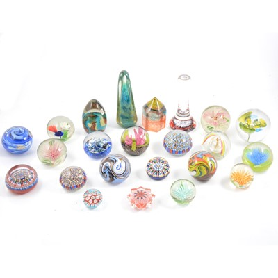 Lot 13 - Collection of glass twenty-three glass paperweights