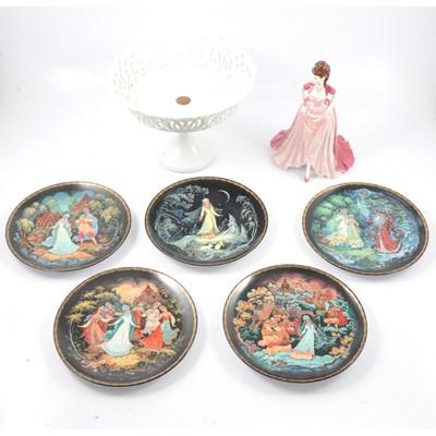 Lot 43A - Russian collectors plates, a Coalport figure, and a tazza.