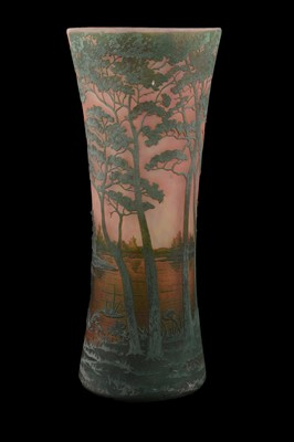 Lot 1013 - Daum, a cameo glass landscape vase, early 20th century