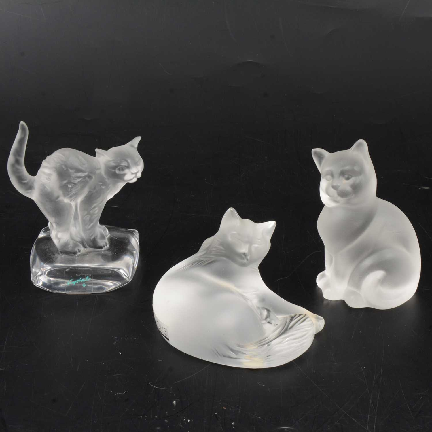 Lot 15 - Lalique Crystal, Happy Cat, a frosted glass figure, and two other cat figures