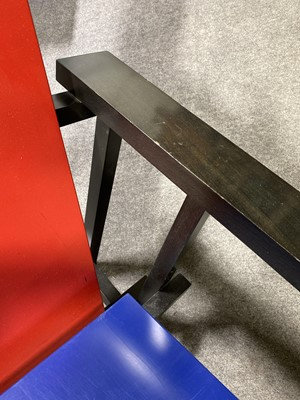 Lot 1053 - Red and Blue Chair, designed by Gerrit Rietveld, manufactured by Cassina