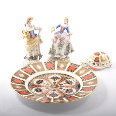Lot 14 - Royal Crown Derby Imari plate, tortoise paperweight and two continental figurines.