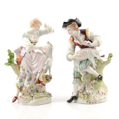 Lot 30 - Pair of Sitzendorf figures, Shepherd & Shepherdess