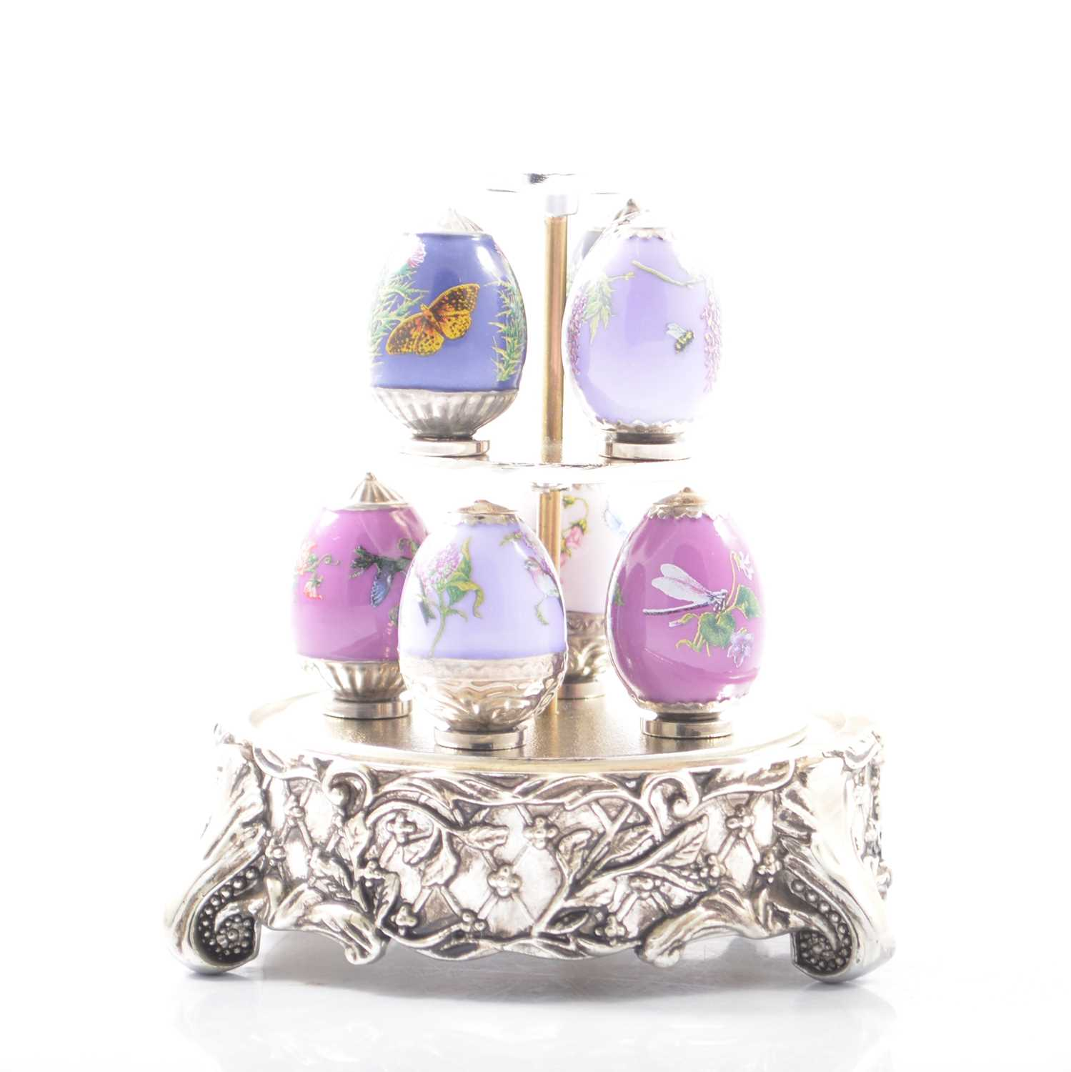 Lot 39 - House of Faberge, Amethyst Garden Mini Eggs and stand