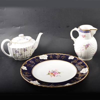 Lot 35 - Spode Campanula tea service, Royal Crown Derby charger and a Spode mask jug.