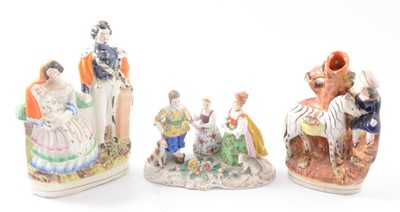 Lot 76 - Staffordshire pottery spill vase group, other decorative ceramics and cabinet ware