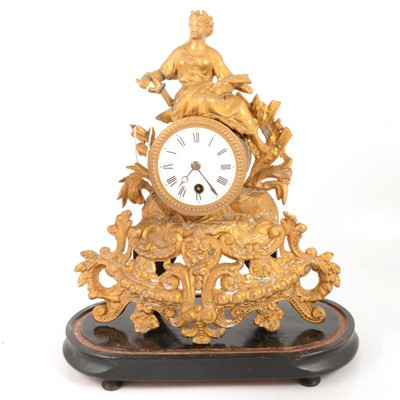 Lot 96 - Late 19th Century French gilt spelter mantel clock
