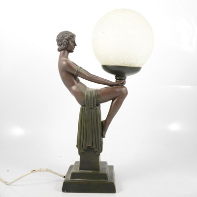 Lot 95 - Art Deco style plaster table lamp; and Deco style figure