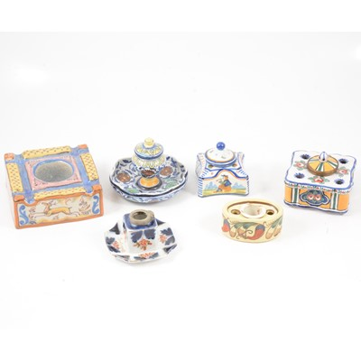 Lot 43 - Six French and Italian faience style inkwells and encrier.
