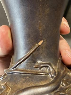 Lot 1010 - Pilkington's Royal Lancastrian, a near pair of vases with lizards