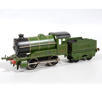 Lot 22 - Hornby O Gauge tank locomotive with tender, 0-4-0, LNER green, 1842, converted to electric.