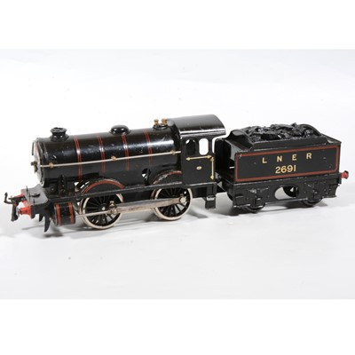 Lot 17 - Hornby O Gauge locomotive with tender, no.1 Special, 0-4-0, LNER black, 2691, converted to electric.