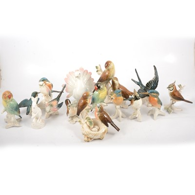Lot 64 - A German model of a Dove; other pottery bird models.