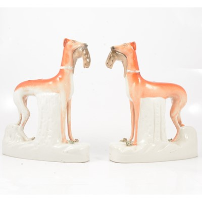 Lot 41 - A pair of large Staffordshire models of Greyhounds